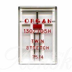 ORGAN TWIN SUPER STRETCH игла двойная №75/4